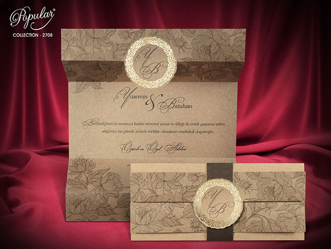 Classic Wedding Invitation Card 2708 - Afghan Wedding Cards